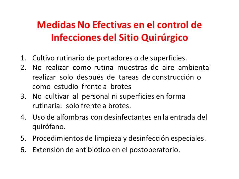 Medidas No Efectivas en el control de Infecciones del Sitio Quirúrgico