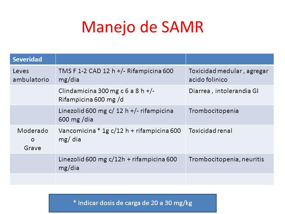 * Indicar dosis de carga de 20 a 30 mg/kg
