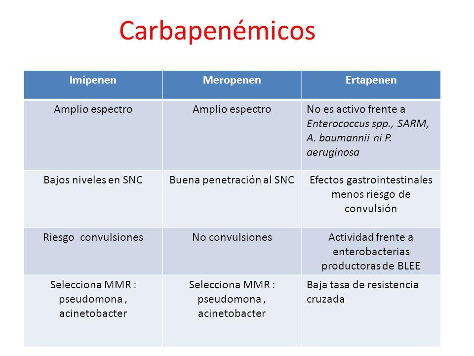 Carbapenémicos Imipenen Meropenen Ertapenen Amplio espectro