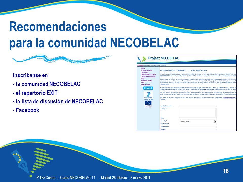 Recomendaciones para la comunidad NECOBELAC