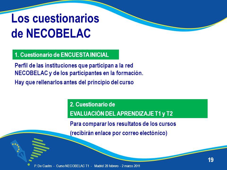 Los cuestionarios de NECOBELAC