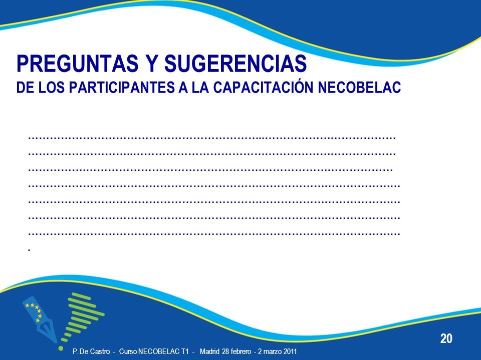 PREGUNTAS Y SUGERENCIAS DE LOS PARTICIPANTES A LA CAPACITACIÓN NECOBELAC