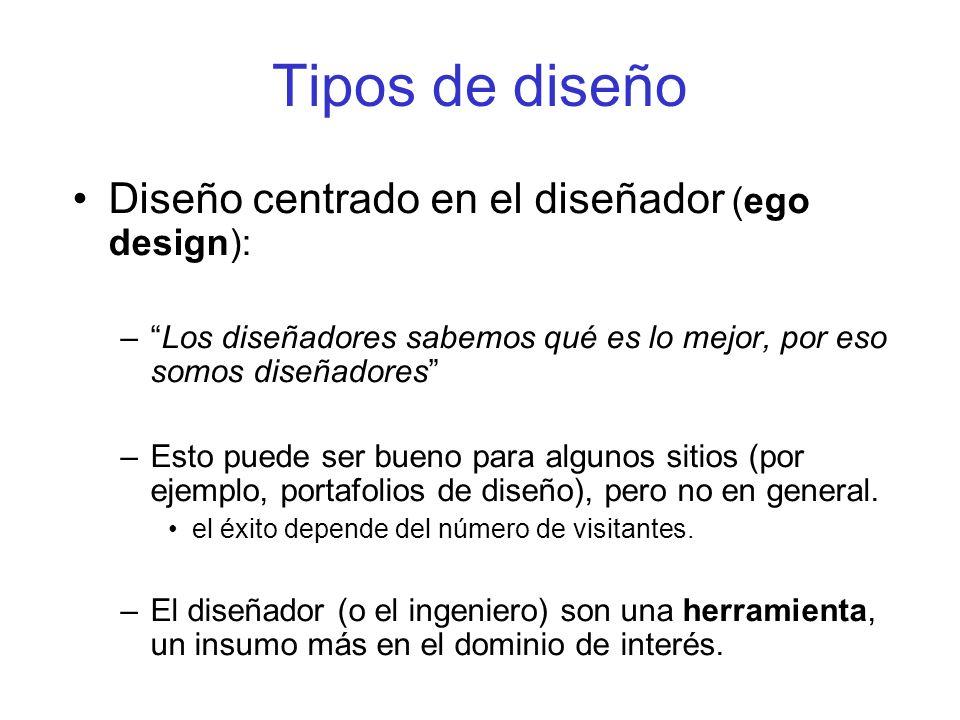 Tipos de diseño Diseño centrado en el diseñador (ego design):