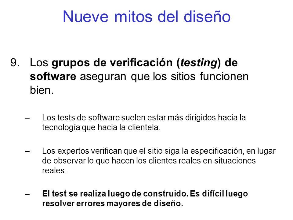 Nueve mitos del diseño Los grupos de verificación (testing) de software aseguran que los sitios funcionen bien.