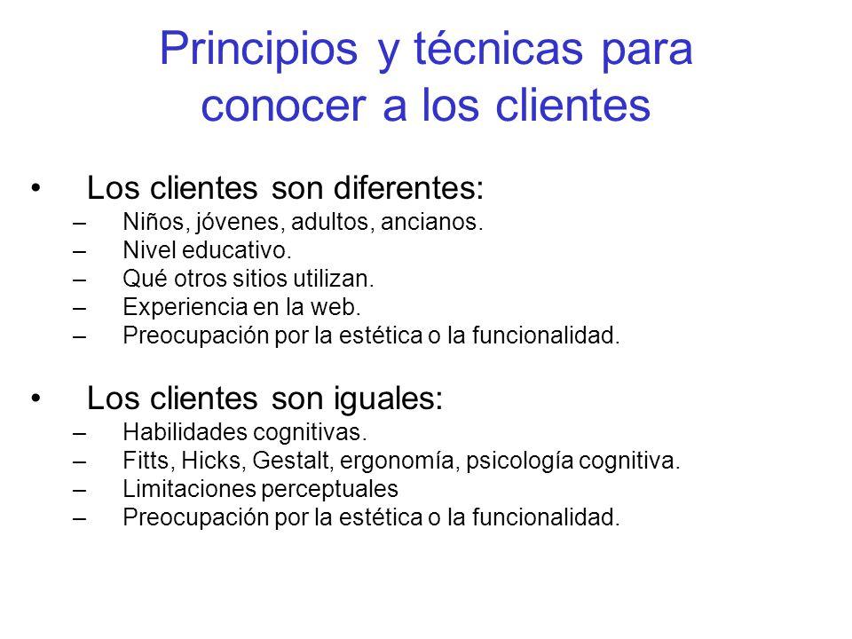 Principios y técnicas para conocer a los clientes