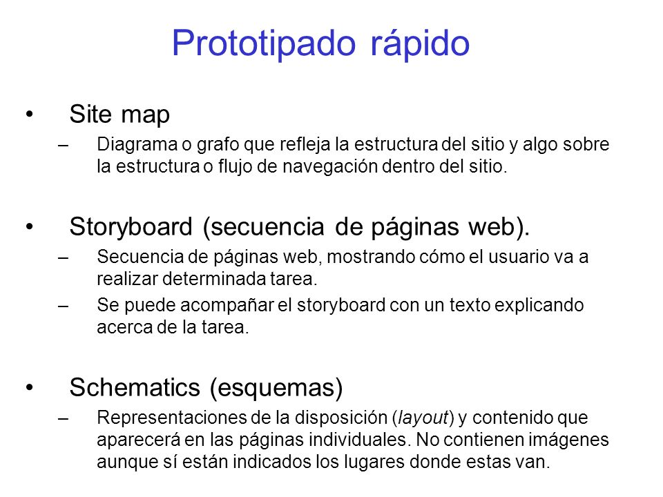 Prototipado rápido Site map Storyboard (secuencia de páginas web).