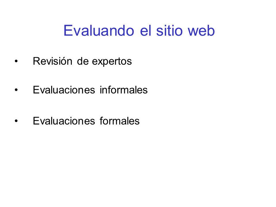 Evaluando el sitio web Revisión de expertos Evaluaciones informales