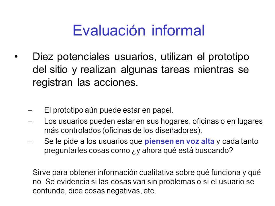 Evaluación informal Diez potenciales usuarios, utilizan el prototipo del sitio y realizan algunas tareas mientras se registran las acciones.