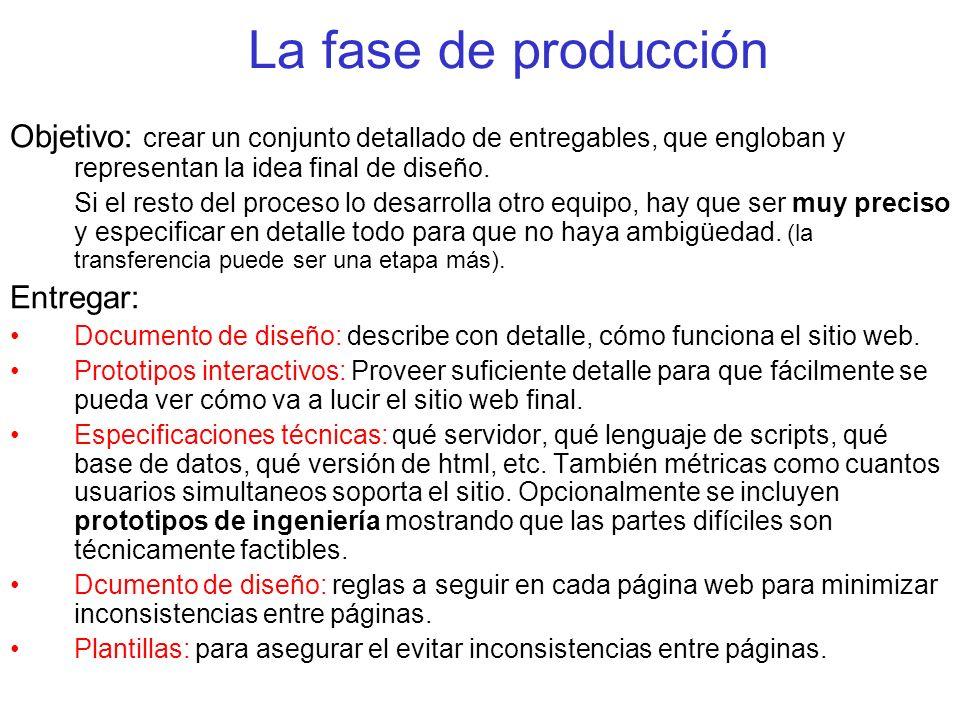 La fase de producción Objetivo: crear un conjunto detallado de entregables, que engloban y representan la idea final de diseño.