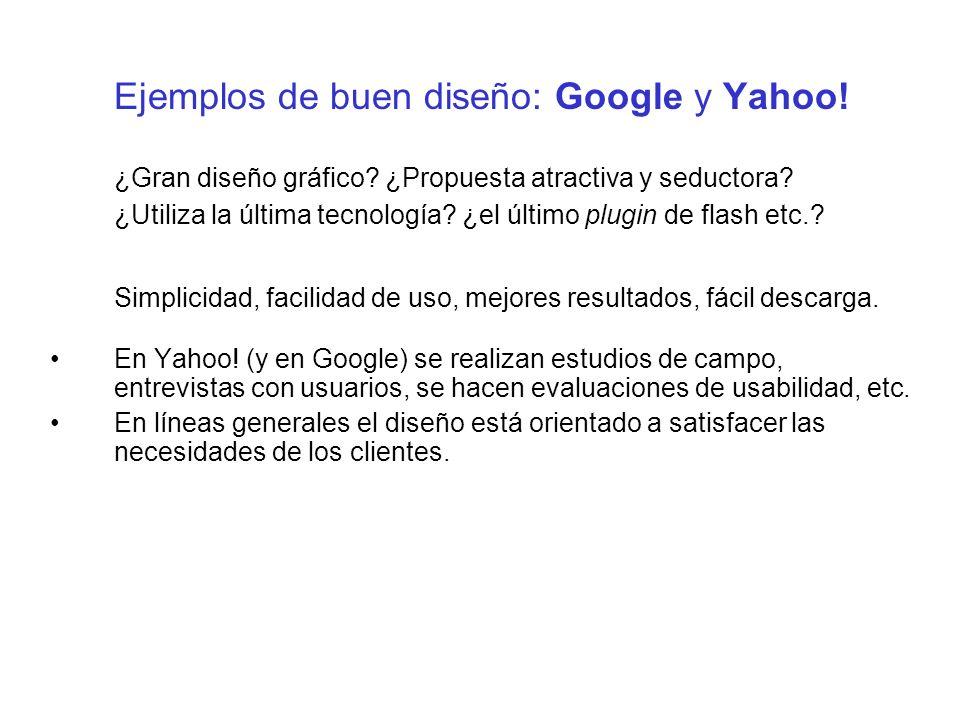 Ejemplos de buen diseño: Google y Yahoo!