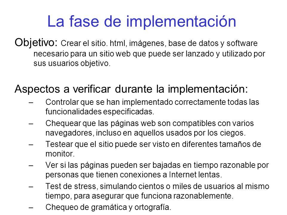 La fase de implementación