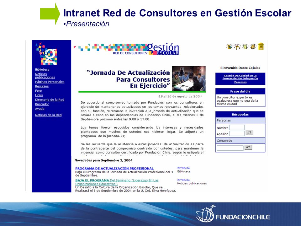 Intranet Red de Consultores en Gestión Escolar