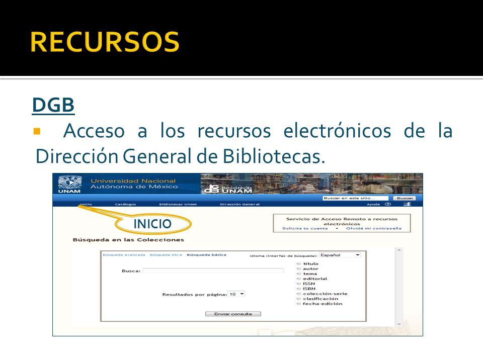 RECURSOS DGB Acceso a los recursos electrónicos de la Dirección General de Bibliotecas. INICIO