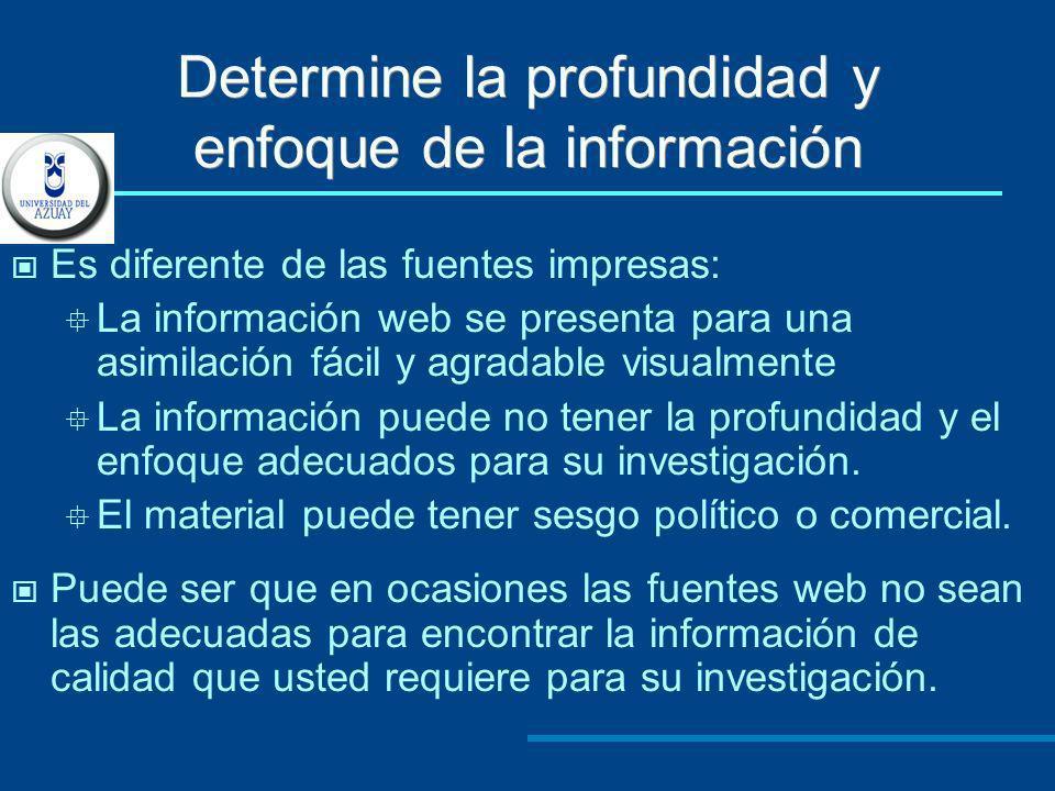 Determine la profundidad y enfoque de la información