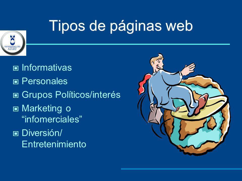 Tipos de páginas web Informativas Personales Grupos Políticos/interés