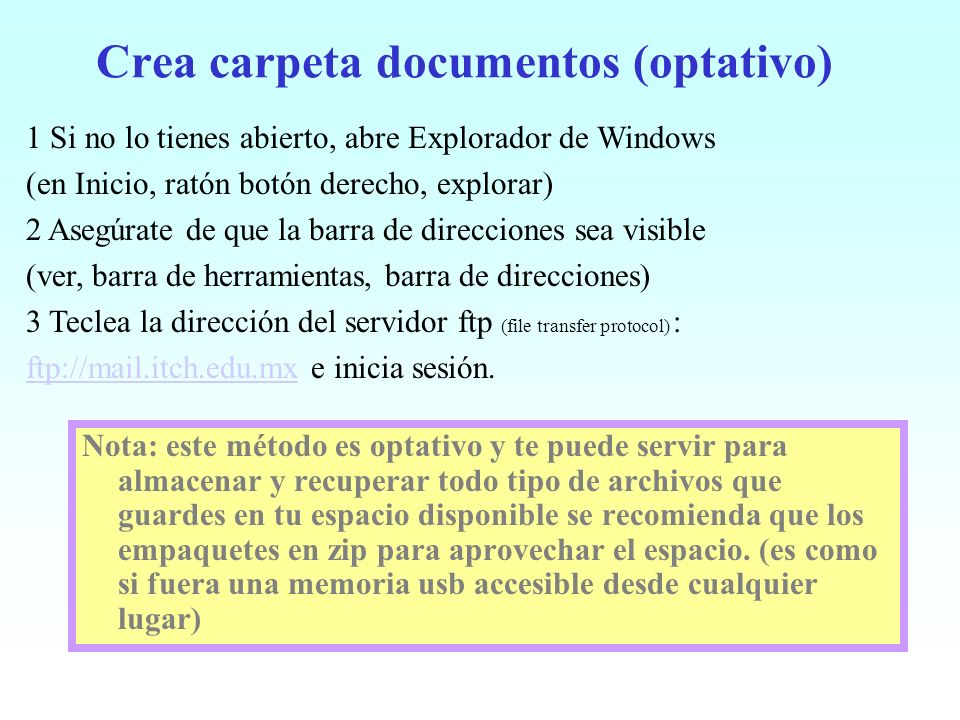 Crea carpeta documentos (optativo)