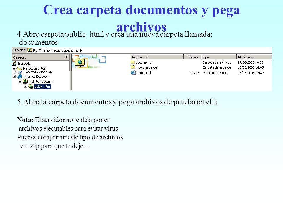 Crea carpeta documentos y pega archivos