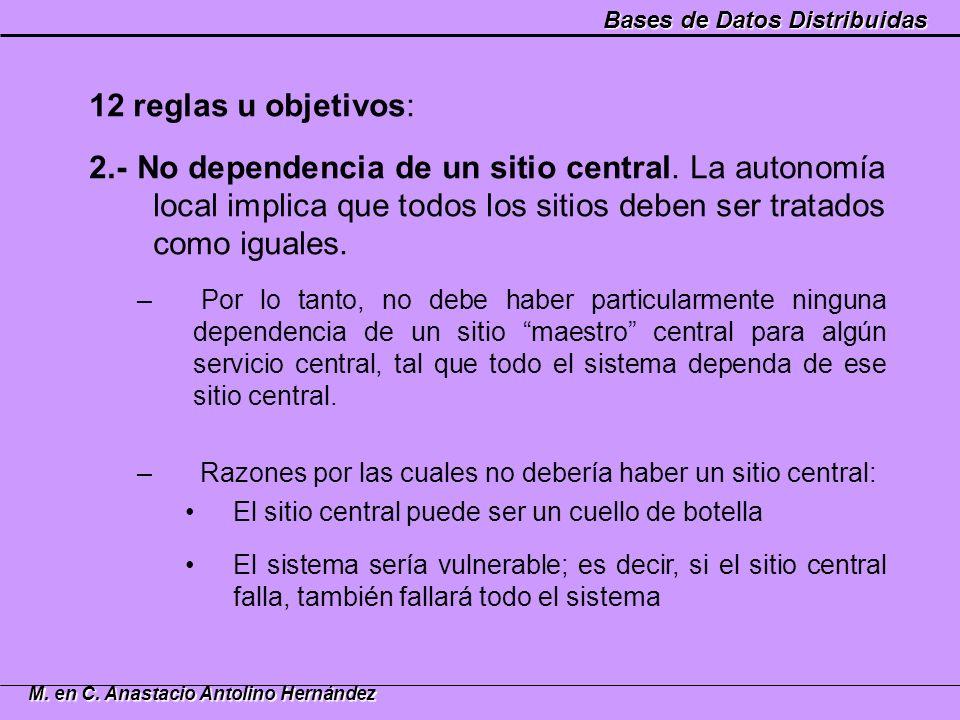 12 reglas u objetivos: 2.- No dependencia de un sitio central. La autonomía local implica que todos los sitios deben ser tratados como iguales.