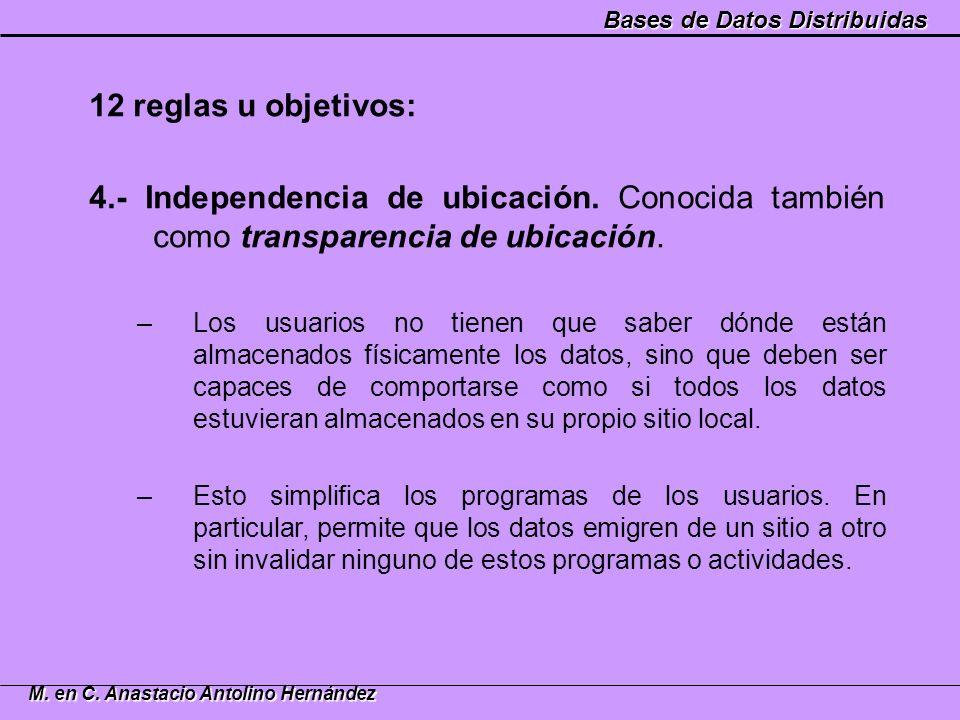 12 reglas u objetivos: 4.- Independencia de ubicación. Conocida también como transparencia de ubicación.