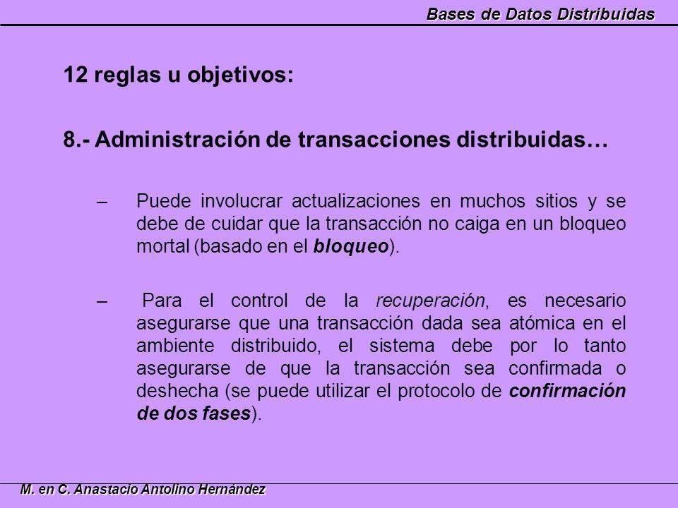 8.- Administración de transacciones distribuidas…