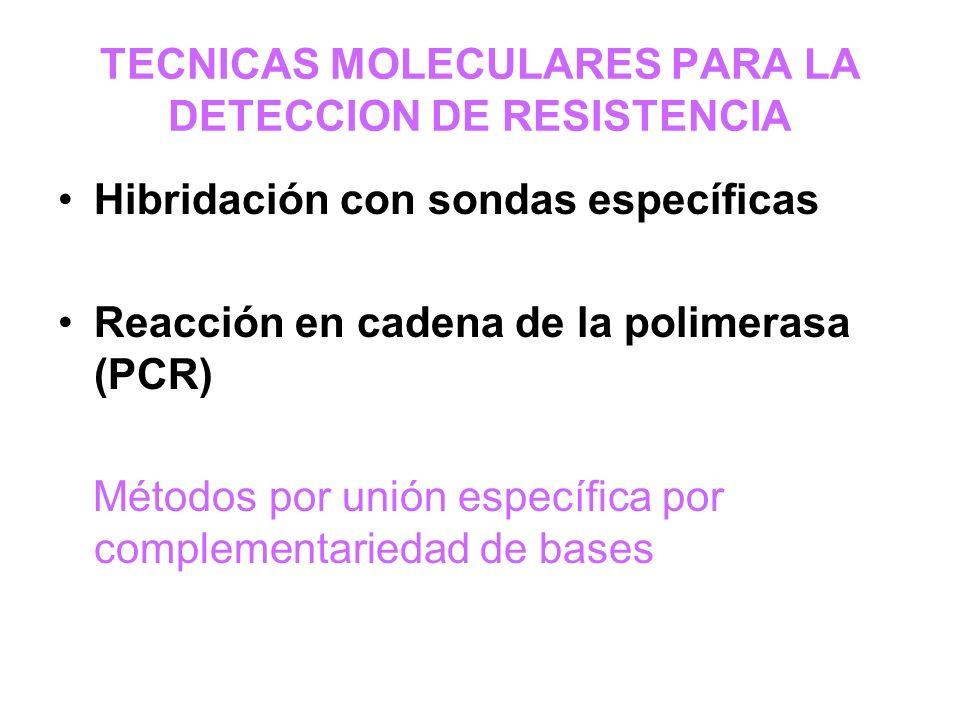 TECNICAS MOLECULARES PARA LA DETECCION DE RESISTENCIA
