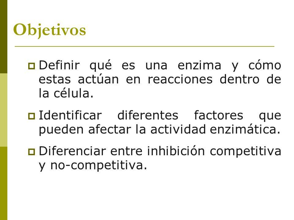 Objetivos Definir qué es una enzima y cómo estas actúan en reacciones dentro de la célula.