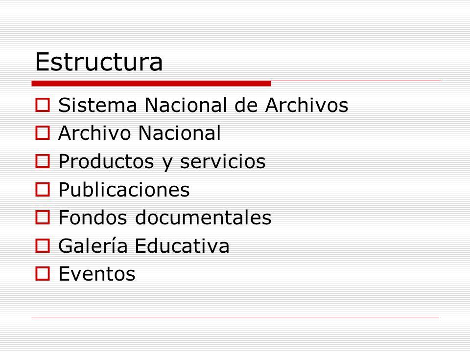 Estructura Sistema Nacional de Archivos Archivo Nacional