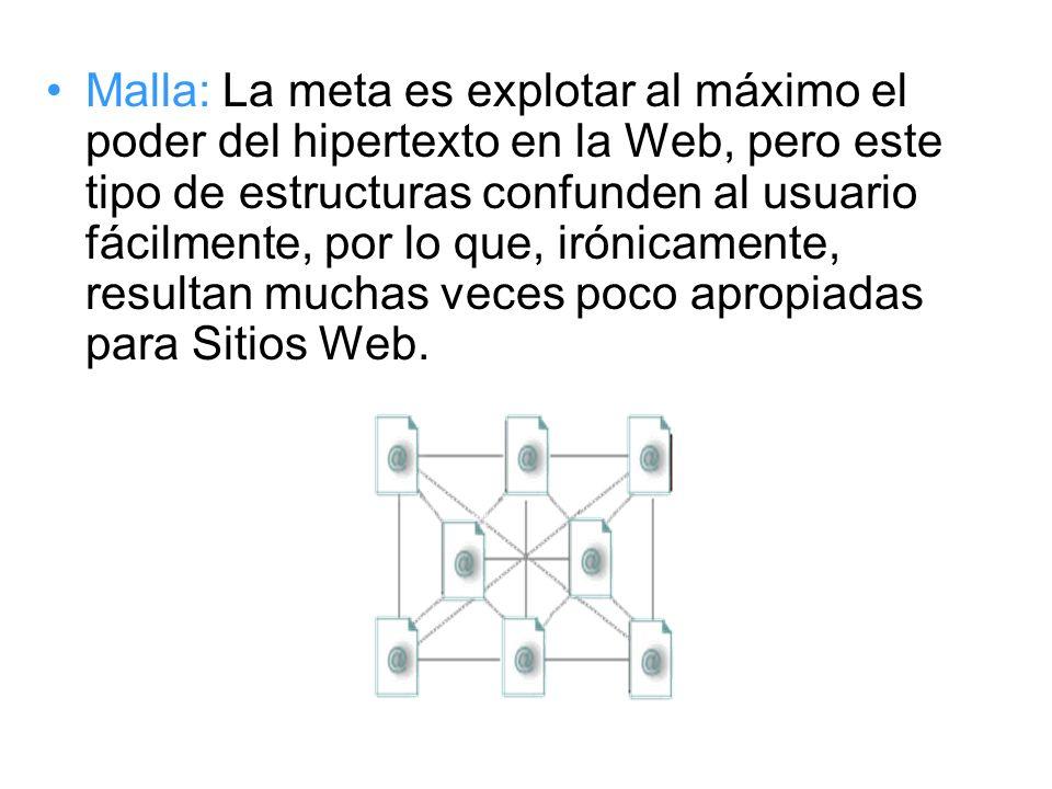 Malla: La meta es explotar al máximo el poder del hipertexto en la Web, pero este tipo de estructuras confunden al usuario fácilmente, por lo que, irónicamente, resultan muchas veces poco apropiadas para Sitios Web.