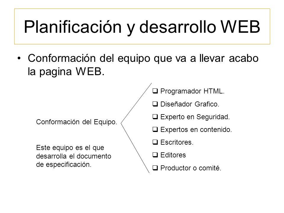 Planificación y desarrollo WEB