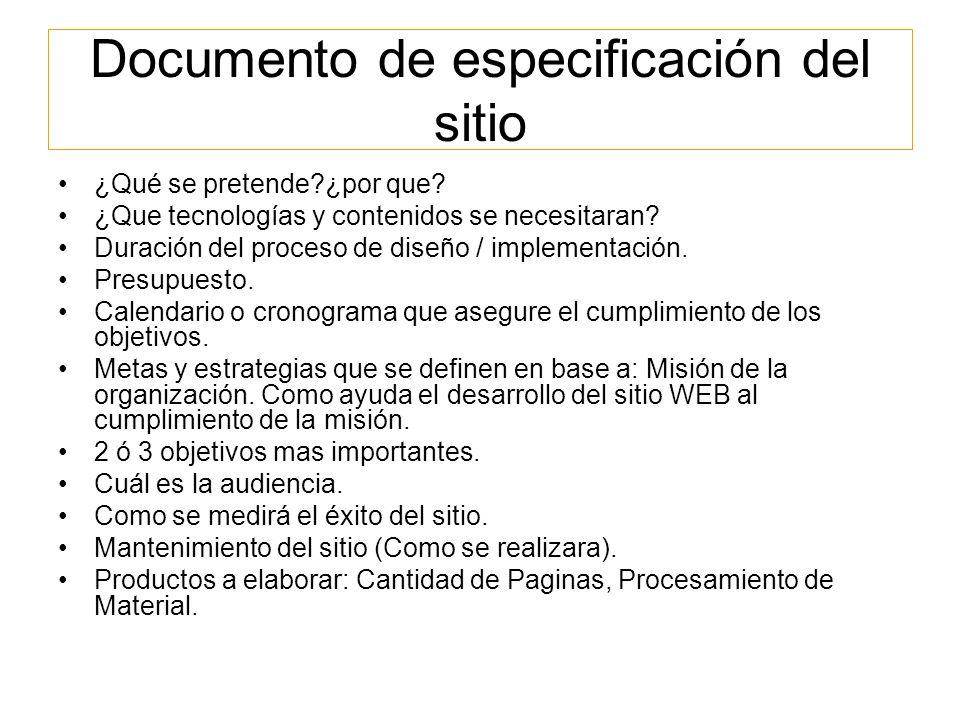 Documento de especificación del sitio