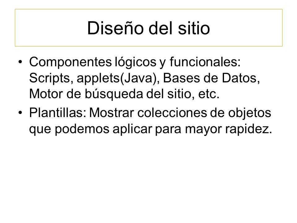 Diseño del sitio Componentes lógicos y funcionales: Scripts, applets(Java), Bases de Datos, Motor de búsqueda del sitio, etc.