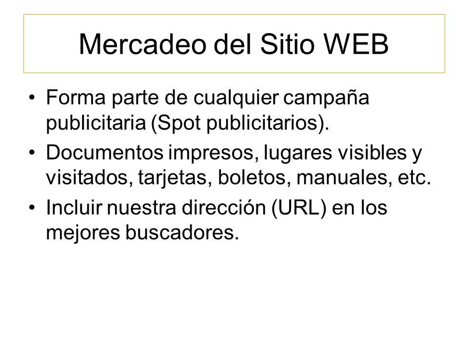 Mercadeo del Sitio WEB Forma parte de cualquier campaña publicitaria (Spot publicitarios).