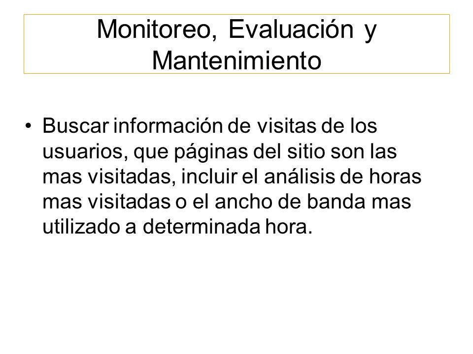 Monitoreo, Evaluación y Mantenimiento