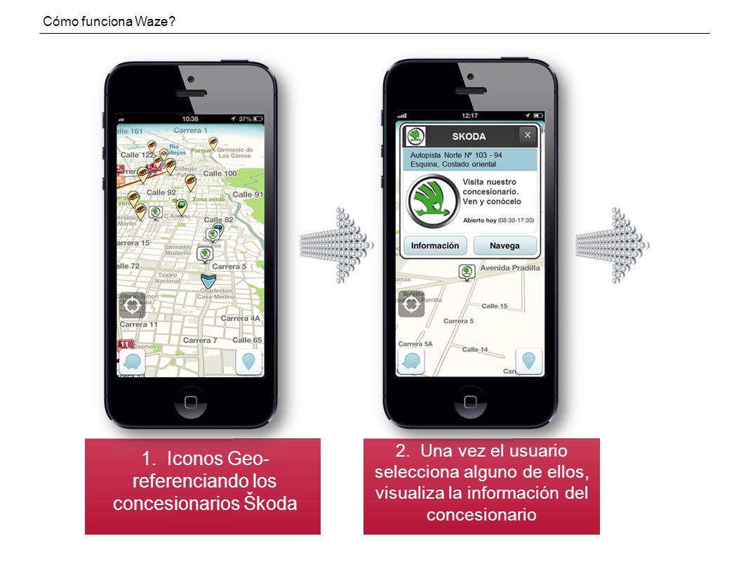 1. Iconos Geo-referenciando los concesionarios Škoda