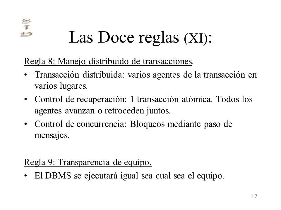 Las Doce reglas (XI): Regla 8: Manejo distribuido de transacciones.