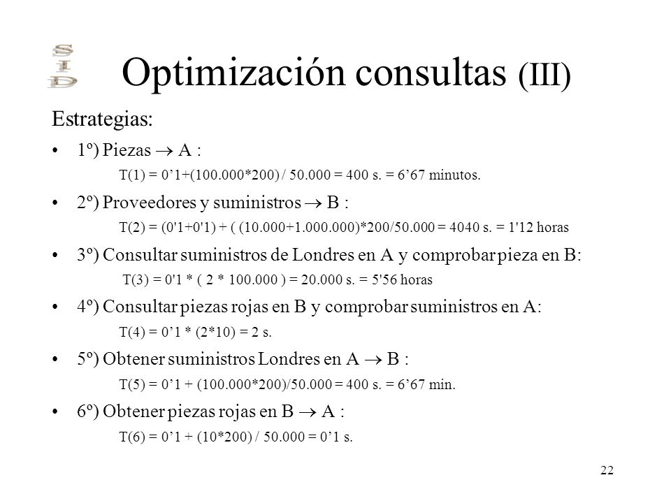 Optimización consultas (III)