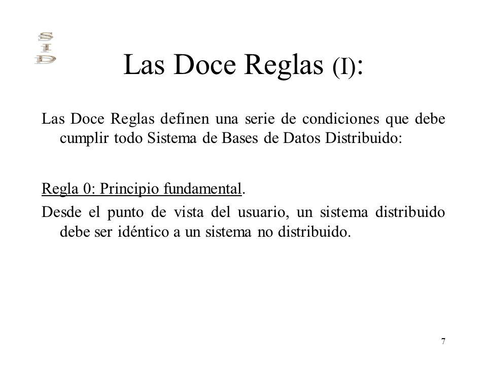 Las Doce Reglas (I): Las Doce Reglas definen una serie de condiciones que debe cumplir todo Sistema de Bases de Datos Distribuido: