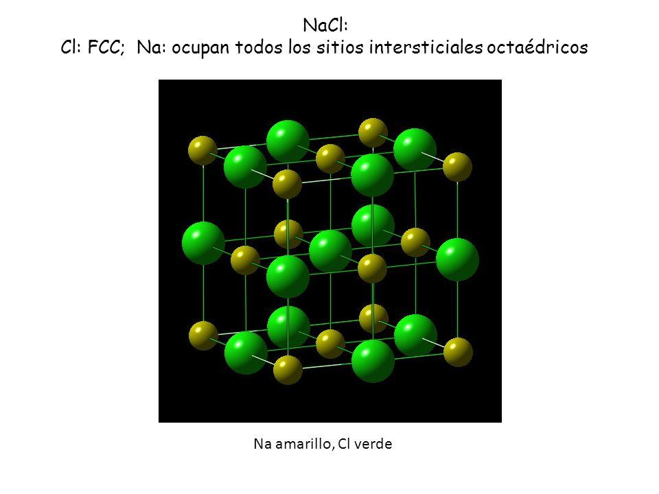 Cl: FCC; Na: ocupan todos los sitios intersticiales octaédricos