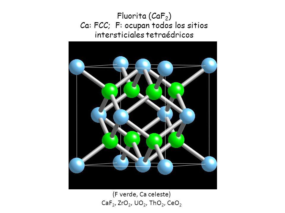 Ca: FCC; F: ocupan todos los sitios intersticiales tetraédricos