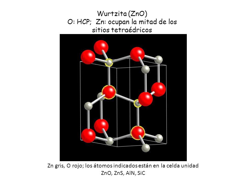 O: HCP; Zn: ocupan la mitad de los sitios tetraédricos
