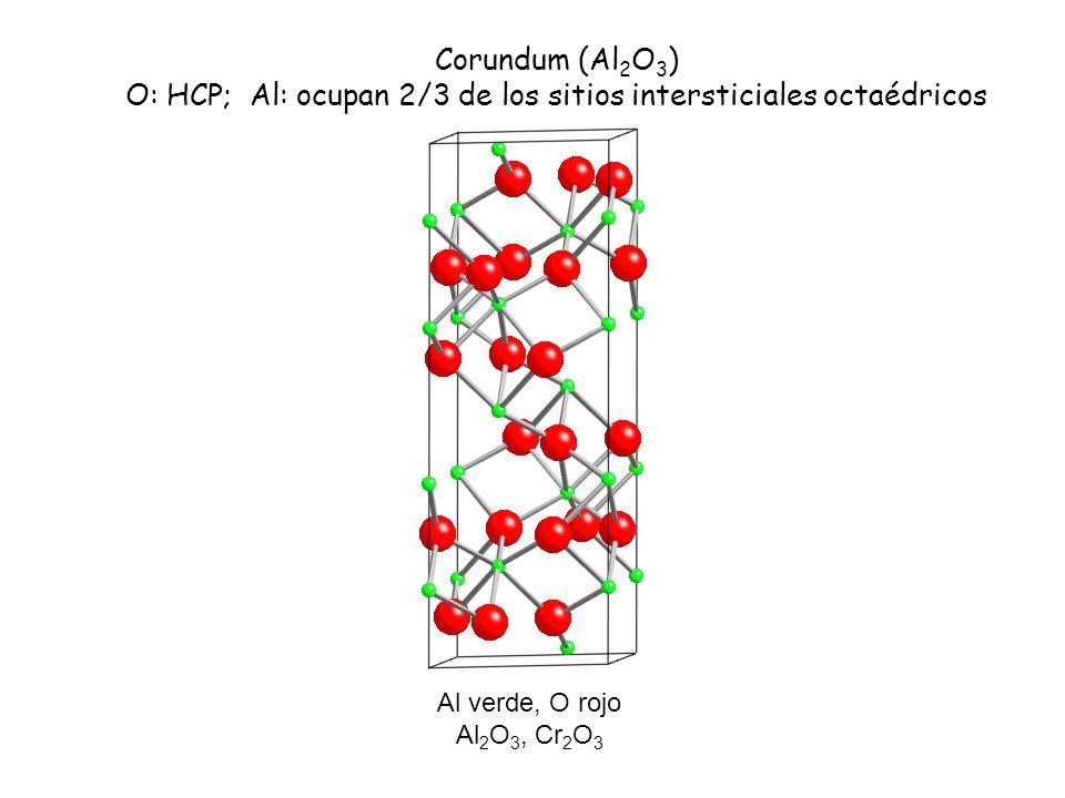 O: HCP; Al: ocupan 2/3 de los sitios intersticiales octaédricos