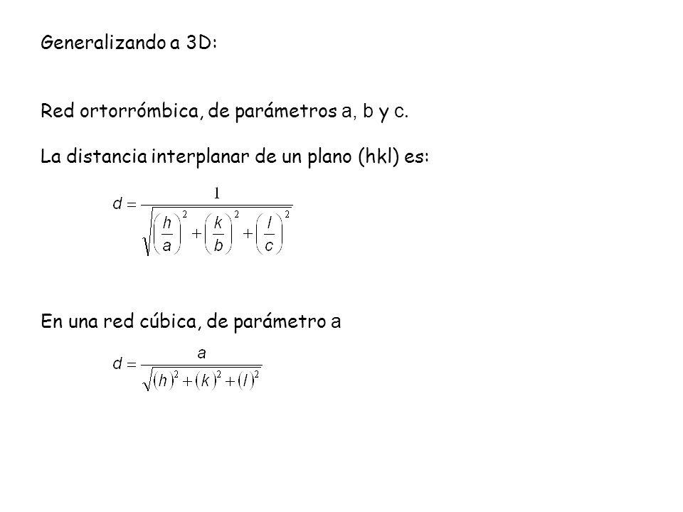 Generalizando a 3D: Red ortorrómbica, de parámetros a, b y c. La distancia interplanar de un plano (hkl) es: