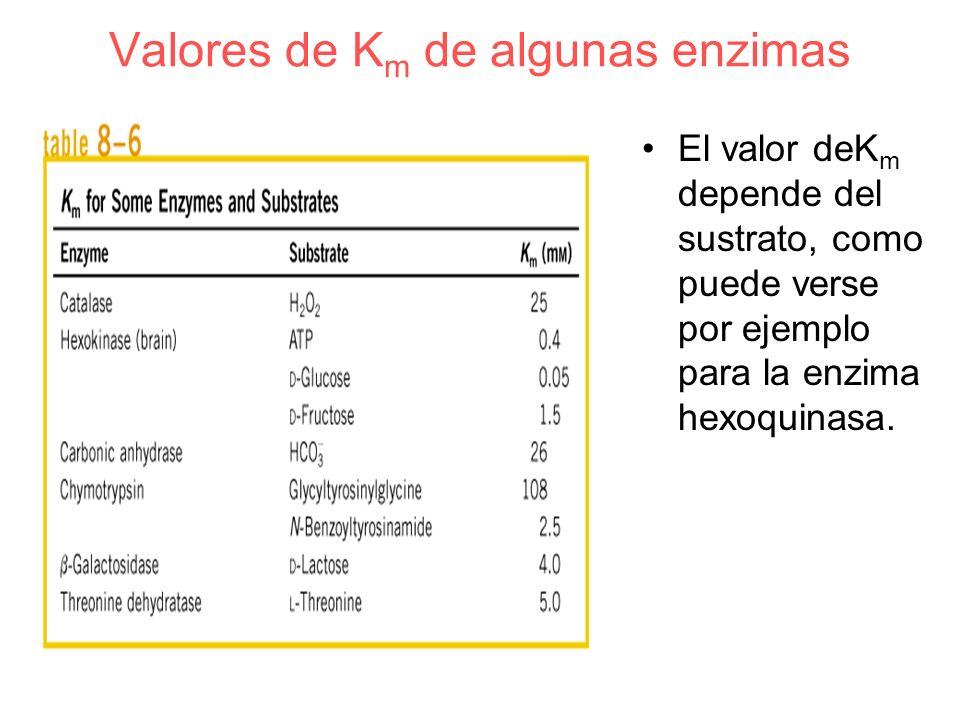 Valores de Km de algunas enzimas