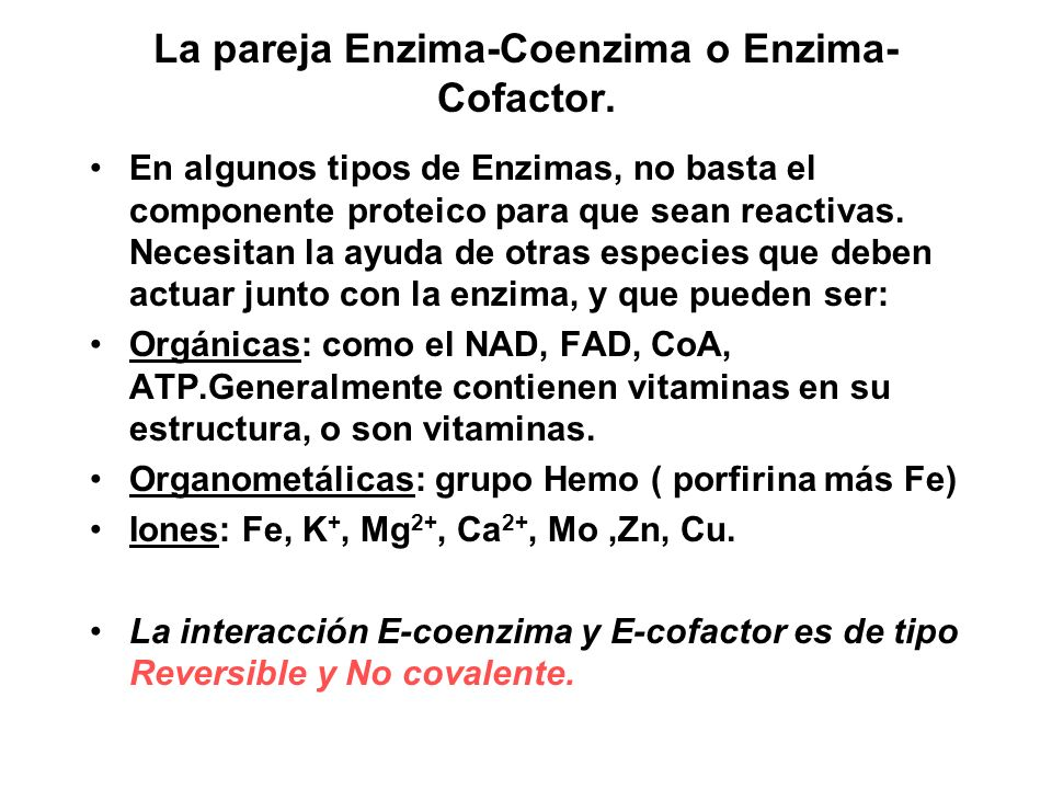 La pareja Enzima-Coenzima o Enzima-Cofactor.