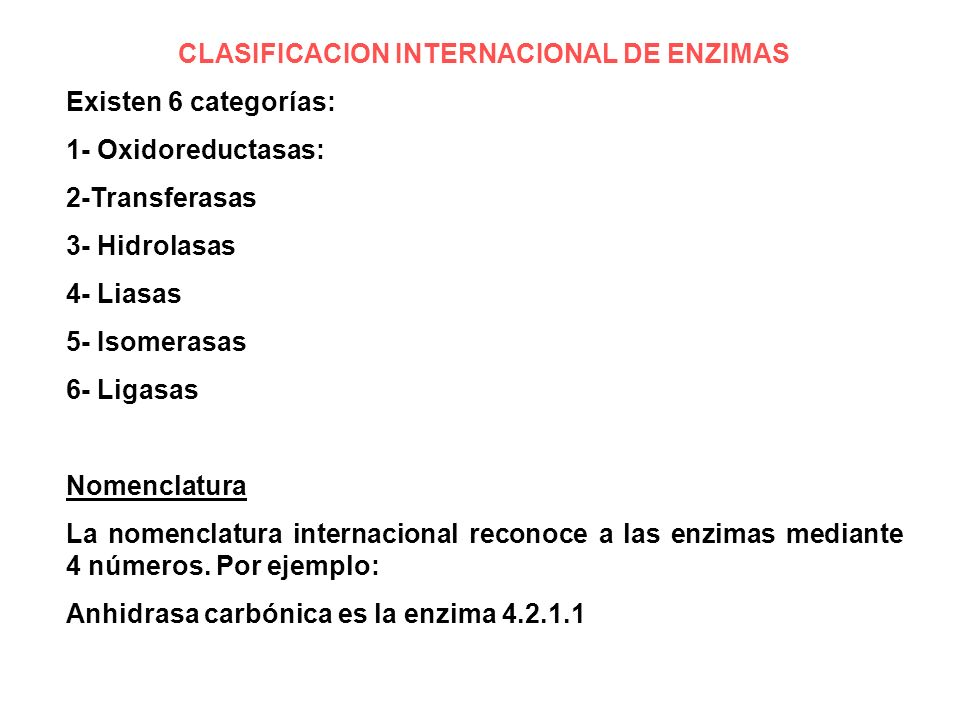 CLASIFICACION INTERNACIONAL DE ENZIMAS