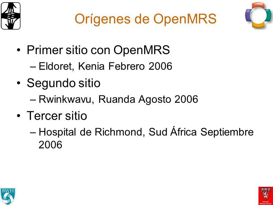 Orígenes de OpenMRS Primer sitio con OpenMRS Segundo sitio