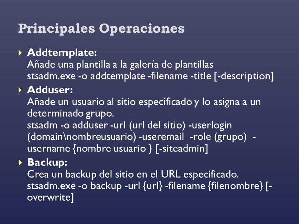 Principales Operaciones