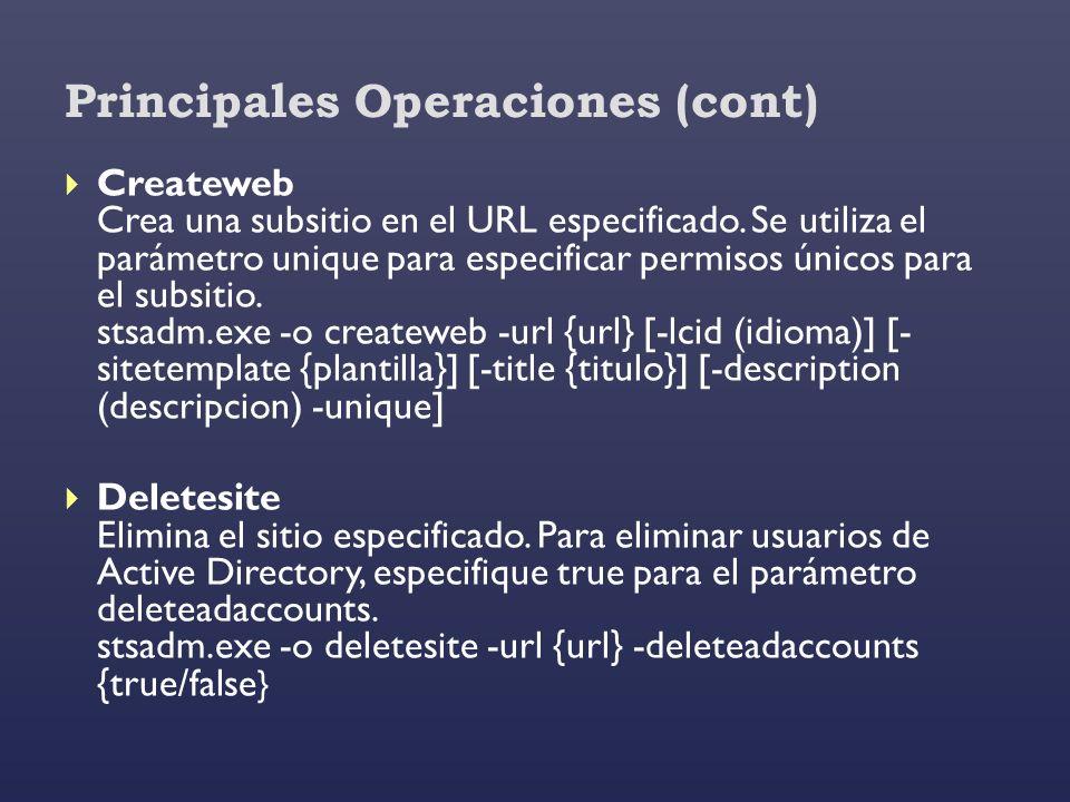 Principales Operaciones (cont)