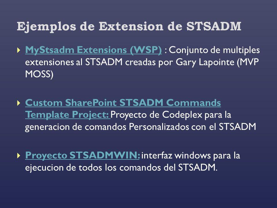 Ejemplos de Extension de STSADM