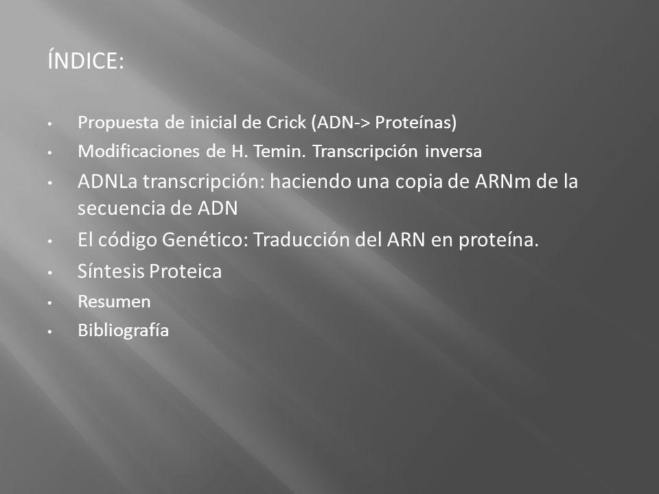 ÍNDICE: Propuesta de inicial de Crick (ADN-> Proteínas) Modificaciones de H. Temin. Transcripción inversa.